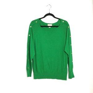 Michael Kors Kelly Green Bateau Neckline sweater Size XL